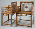 Asian:Chinese, PAIR OF CHINESE HARD WOOD ARM CHAIRS . Qing Dynasty . 34-1/4 x 21 x18 inches (87.0 x 53.3 x 45.7 cm). BOSS STAR COLLECTIO... (Total: 2Items)