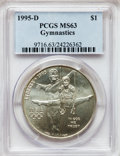Modern Issues: , 1995-D $1 Olympic/Gymnastics Silver Dollar MS63 PCGS. PCGSPopulation (1/2056). NGC Census: (0/1354). Numismedia Wsl. Pric...