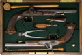 Handguns:Muzzle loading, Pair of Unmarked Pair of European Percussion Pistols in AssociatedCase....