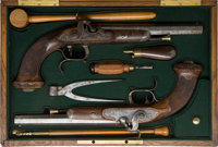 Pair of Unmarked Pair of European Percussion Pistols in Associated Case