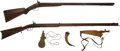 Long Guns:Muzzle loading, Lot of Percussion Firearms and Powder Flasks.... (Total: 3 Items)