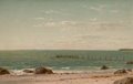 Fine Art - Painting, American:Antique  (Pre 1900), JOHN WILLIAM CASILEAR (American, 1811-1893). New England BeachScene. Oil on canvas laid on board. 8-3/4 x 13-1/4 inches...