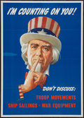 """Movie Posters:War, World War II """"I'm Counting on You!"""" (U.S. Government PrintingOffice, 1943). Poster (20"""" X 28""""). OWI Poster No. 78. War.. ..."""