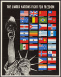 "Movie Posters:War, World War II Propaganda (U.S. Government Printing Office, 1942).Poster (20"" X 28""). OWI Poster No. 19. ""The United Nations ..."