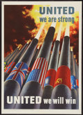 "Movie Posters:War, World War II ""United We are Strong"" (U.S. Government PrintingOffice, 1943). Poster (16"" X 22.5""). OWI Poster No. 64. War.. ..."
