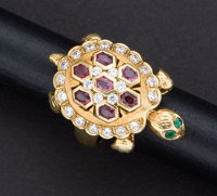 Charming Turtle Diamond & Ruby Ring