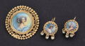 Estate Jewelry:Cameos, Portrait 14k Gold Cameo Pin & Earrings. ...