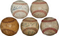 Autographs:Baseballs, 1929-40 Chicago Cubs Team Signed Baseballs Lot of 5....