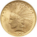 Indian Eagles, 1908-D $10 Motto MS63 NGC....