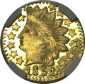 California Fractional Gold, 1852 25C Indian Round 25 Cents, BG-891, Low R.5, MS67 ProoflikeNGC....