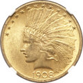 Indian Eagles, 1908 $10 Motto MS64 NGC....