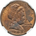 "Patterns, ""1759"" (1982) Martha Washington ""Cent,"" Judd-2180, P-4100, R.7, MS62 Red and Brown NGC...."