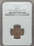 Civil War Merchants, 1864 Henry Weber, Detroit, MI, F-225CK-5d, R.9, MS65 NGC. ...