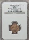 Civil War Merchants, 1863 Turner Hubbell & Co., Detroit, MI, F-225CG-1d, R.9, MS64NGC. ...