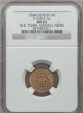 Civil War Merchants, 1864 W.E. Tunis, Detroit, MI, F-225CF-3d, R.9, MS65 NGC. ...