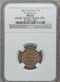 Civil War Merchants, 1863 Henry Wolff, Detroit, MI, F-225CS-3d, R.9, MS65 NGC. ...