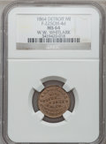 Civil War Merchants, 1864 W.W. Whitlark, Detroit, MI, F-225CM-4d, R.9, MS64 NGC. ...