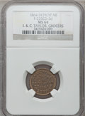 Civil War Merchants, 1864 I. & C. Taylor, Detroit, MI, F-225CD-3d, R.9, MS64 NGC....