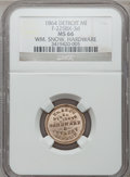 Civil War Merchants, 1864 William Snow, Detroit, MI, F-225BX-3d, R.9, MS66 NGC. ...