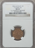 1864 L. J. Staples, Detroit, MI, F-225BZ-5d, R.9, MS65 NGC