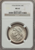 Commemorative Silver: , 1936 50C Boone MS62 NGC. NGC Census: (20/1359). PCGS Population(50/2037). Mintage: 12,012. Numismedia Wsl. Price for probl...