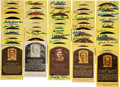 Autographs:Post Cards, 1980's-2000's Signed Yellow Hall of Fame Plaques Lot of 49....