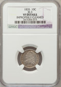 Bust Dimes, 1835 10C -- Improperly Cleaned -- NGC Details. VF. JR-3. NGCCensus: (4/438). PCGS Population (17/492). Mintage: 1,410,000...
