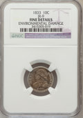 Bust Dimes, 1833 10C -- Environmental Damage -- NGC Details. Fine. JR-9. NGCCensus: (2/278). PCGS Population (5/333). Mintage: 48...
