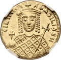 Ancients:Byzantine, Ancients: Irene (AD 793-802). AV solidus (20mm, 4.43 gm, 5h). ...
