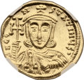 Ancients:Byzantine, Ancients: Constantine V and Leo IV (AD 741-775). AV solidus (21mm,4.46 gm, 6h). ...