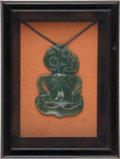 Antiques:Antiquities, Rare Framed New Zealand Maori Tiki with Provenance....