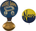 Football Collectibles:Others, 1930 Notre Dame Fighting Irish Knute Rockne and Navy Pinback Buttons Lot of 2....