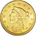 Liberty Quarter Eagles: , 1871-S $2 1/2 MS63 PCGS. Well struck with pleasing lime-gold toningand carefully preserved surfaces that are very nearly b...