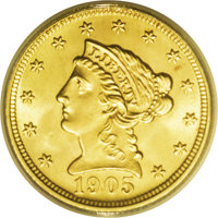 1905 $2 1/2 MS66 ANACS. This attractive gold type coin exhibits potent luster, and the strike is unimprovable aside from...