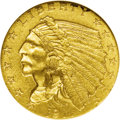 Indian Quarter Eagles: , 1911-D $2 1/2 MS62 NGC. Satiny yellow-gold surfaces exhibit splendid luster on this Mint State piece. The D mintmark is str...