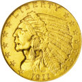 Indian Quarter Eagles: , 1911-D $2 1/2 MS64 NGC. Orange-gold toning fills the obverse and dominates the reverse, although a window of ice-blue patin...