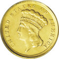 Three Dollar Gold Pieces: , 1854-D $3 AU55 PCGS. Variety 1-A. This piece shows very decentstriking details overall, although the denticles around the ...