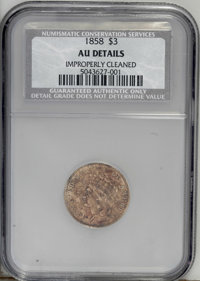 1858 $3 --Improperly Cleaned--NCS. AU Details. Lightly worn with significant areas of dull orange and red from copper st...
