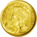 Three Dollar Gold Pieces: , 1868 $3 MS66 PCGS. After the Civil War, gold and silver coinsremained a precious commodity that was hoarded and remained t...