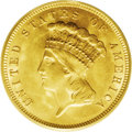 Three Dollar Gold Pieces: , 1888 $3 MS65 PCGS. Only 5,000 business strikes of this date werecoined, and nearly all known survivors are Mint State, alt...