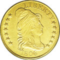 1806 $5 Round Top 6, 7x6 Stars AU53 ANACS. Breen-6448, BD-6, R.2. A bold olive-gold representative of this popular and s...