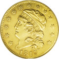 Early Half Eagles: , 1813 $5 AU55 ANACS. Breen-6467, BD-1, R.2. The half eagles of 1813 are the only coins of this modified design type that can...