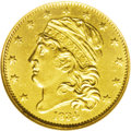 Early Half Eagles: , 1834 $5 Capped Head, Crosslet 4 MS62 NGC. Breen-6500, BD-2, R.5. Final year of the Capped Head Left design, and one of the ...