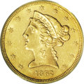 Liberty Half Eagles: , 1862 $5 AU58 PCGS. Unsurprisingly for a coin of which only 4,430 business strikes were minted, this example shows much proo...