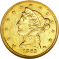 1863 $5 AU53 NGC. The 1863 is an exceptionally rare half eagle in the No Motto series. Only 2,442 business strikes were...