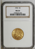 Liberty Half Eagles: , 1902 $5 MS64 NGC. Choice with attractive luster on each side, morefrosty on the obverse than on the reverse. Boldly define...