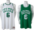 Basketball Collectibles:Uniforms, Circa 2010 Bill Russell Signed Jerseys Lot of 2....