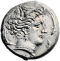Ancients:Greek, Ancients: SICULO-PUNIC. Entella. Ca. 320/15-300 BC. AR tetradrachm(26mm, 16.48 gm, 9h). ...