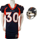 Football Collectibles:Uniforms, 2002 Terrell Davis Game Worn Denver Broncos Jersey and Helmet From Final Game - With LOA from Davis Himself! ...