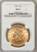 Liberty Double Eagles: , 1899 $20 MS61 NGC. NGC Census: (5237/15659). PCGS Population(3190/8285). Mintage: 1,669,384. Numismedia Wsl. Price for pro...